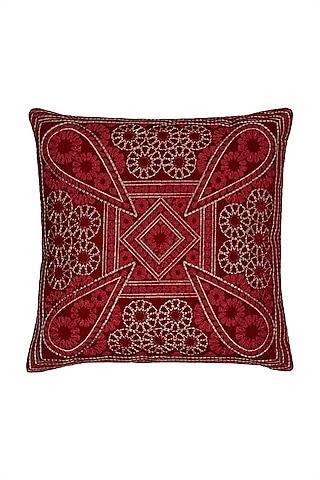 Rust Chameli Square Cushion With Filler by Ritu Kumar Home