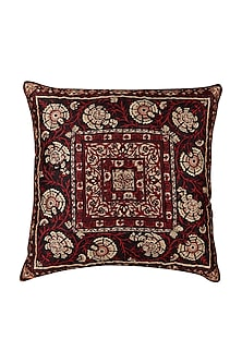 Maroon Agora Square Cushion With Filler by Ritu Kumar Home