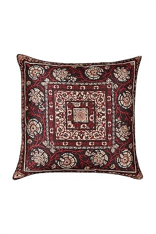 Maroon Agora Square Cushion With Filler by Ritu Kumar Home