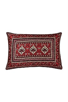 Red Agora Rectangle Cushion With Filler by Ritu Kumar Home