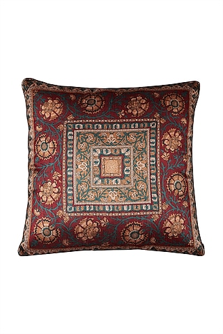 Red Kalamkari Square Cushion With Filler by Ritu Kumar Home