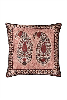 Pink Kalash Square Cushion With Filler by Ritu Kumar Home