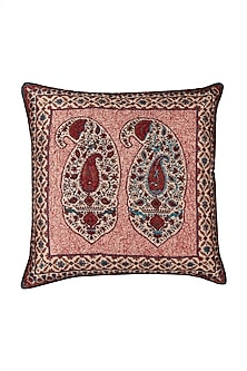 Red Kalash Square Cushion With Filler by Ritu Kumar Home