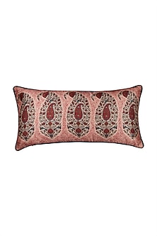 Red Kalash Rectangle Cushion With Filler by Ritu Kumar Home