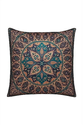 Multicolored Jaamevar Square Cushion with Filler by Ritu Kumar Home