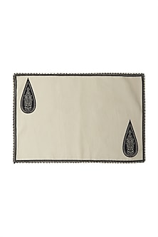 Black & White Awadh Rectangle Placemat (Set of 4) by Ritu Kumar Home