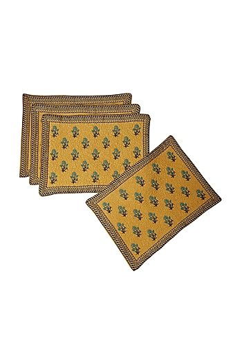 Yellow Jal Mahal Rectangle Placemat (Set of 4) by Ritu Kumar Home