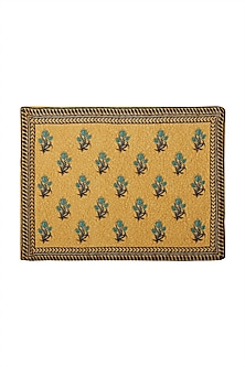 Yellow Jal Mahal Rectangle Placemat (Set of 4) by Ritu Kumar Home