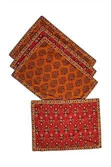 Red Banki Table Placemat (Set of 4) by Ritu Kumar Home