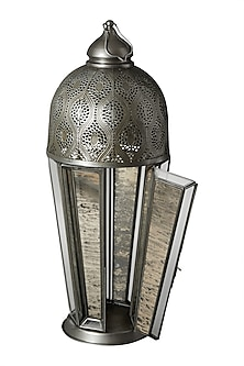 Silver Outdoor Glasshouse Lantern by Ritu Kumar Home