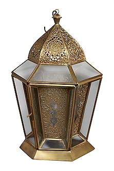 Brass Outdoor Glasshouse Lantern by Ritu Kumar Home