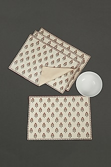 Ivory Canvas Chameli Placemats (Set of 4) by Ritu Kumar Home
