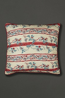 Blue Chidambaram Floral Cushion With Fillers by Ritu Kumar Home