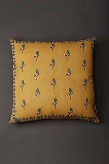 Yellow Jal Mahal Square Cushion With Fillers by Ritu Kumar Home