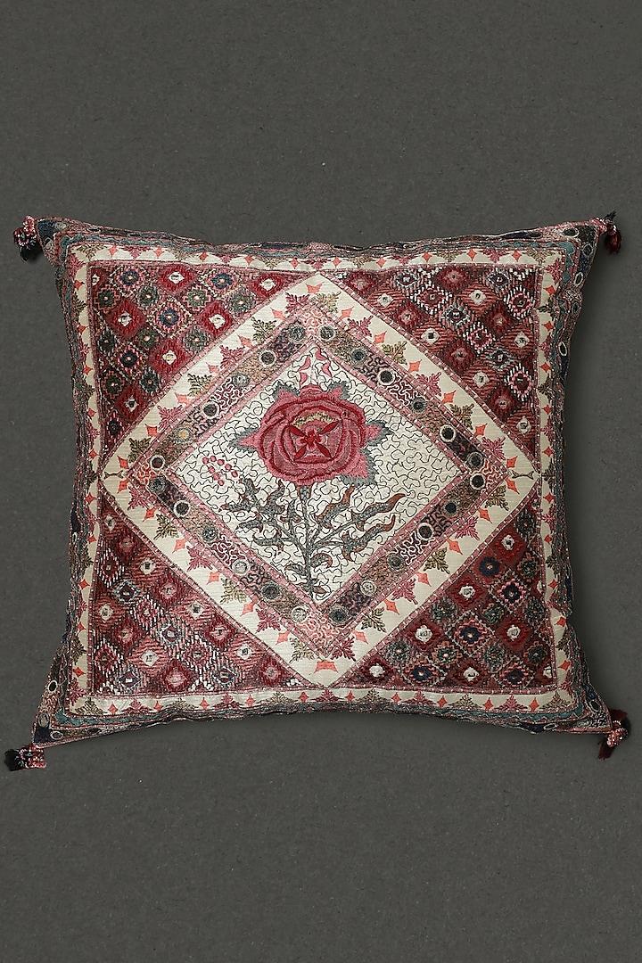 Ivory Lavana Printed Square Cushion With Filler by Ritu Kumar Home