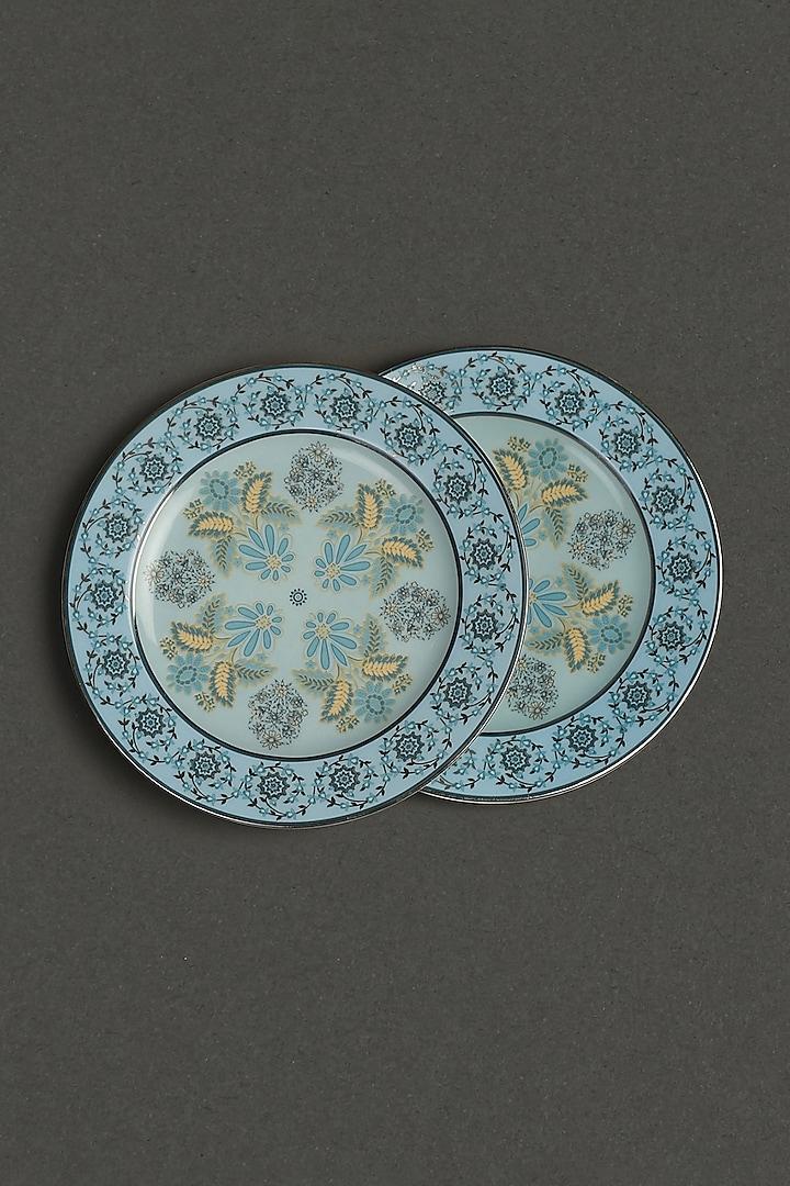 Turquoise Porcelain Side Plate (Set Of 2) by Ritu Kumar Home
