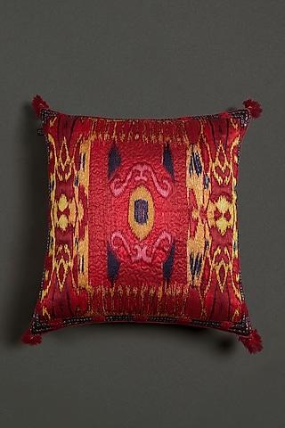 Red Ikkat Cushion With Filler by Ritu Kumar Home