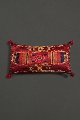 Yellow Ikkat Cushion With Filler by Ritu Kumar Home