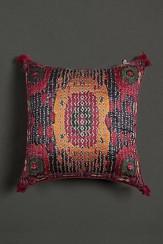 Pink Ikkat Cushion With Filler by Ritu Kumar Home