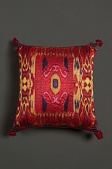 Red Ikat Cushion With Filler by Ritu Kumar Home