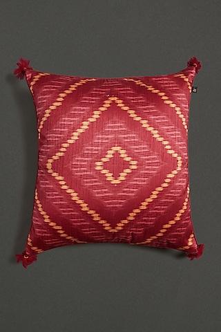 Red Ikat Cushion With Filler by Ritu Kumar Home