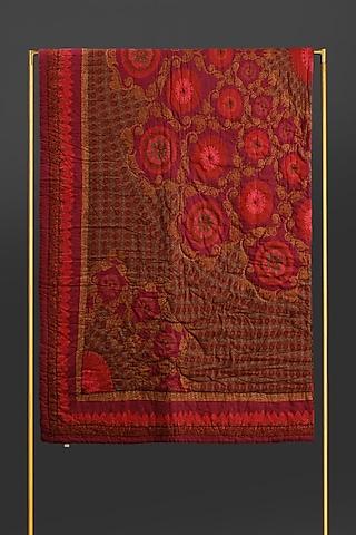 Red Ikkat Double Quilt by Ritu Kumar Home