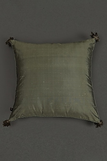 Green Quilted Core Cushion With Filler by Ritu Kumar Home
