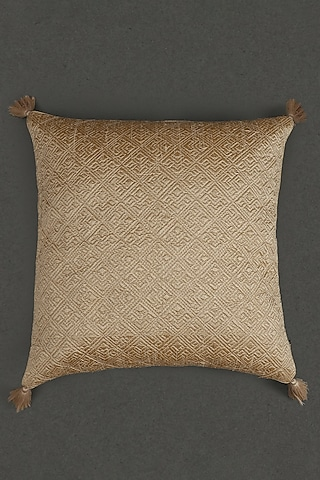 Beige Quilted Core Cushion With Filler by Ritu Kumar Home