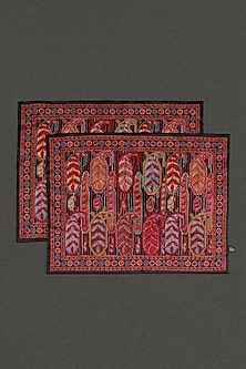 Red Mysore Silk Placemats (Set Of 2) by Ritu Kumar Home