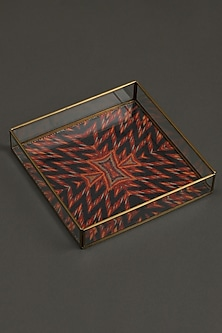 Red Ikkat Trays (Set of 2) by Ritu Kumar Home