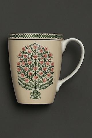 Beige Floral Uttama Mugs (Set of 2) by Ritu Kumar Home