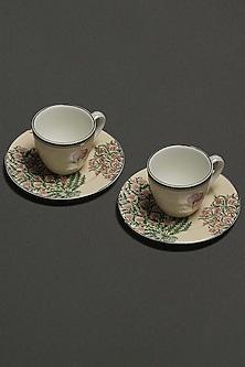 Beige Floral Uttama Tea Set (Set of 4) by Ritu Kumar Home-READY TO SHIP GIFTS