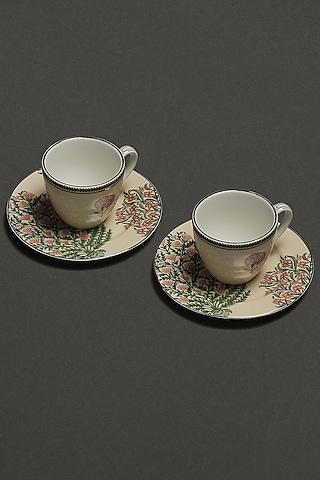 Beige Floral Uttama Tea Set (Set of 4) by Ritu Kumar Home
