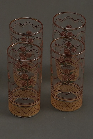 Beige Floral Uttama Glass (Set of 4) by Ritu Kumar Home