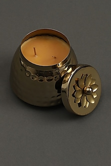 Golden Mogra Votive In Brass Tin by Ritu Kumar Home