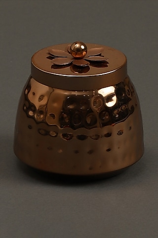 Copper Jasmine Tea Metal Votive by Ritu Kumar Home