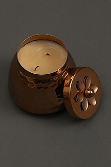 Copper Jasmine Tea Metal Votive by Ritu Kumar Home