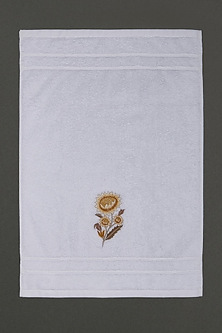 Off White & Yellow Floral Hand Towel by Ritu Kumar Home
