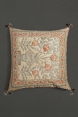 Beige Pink Printed Cushion WIth Filler by Ritu Kumar Home