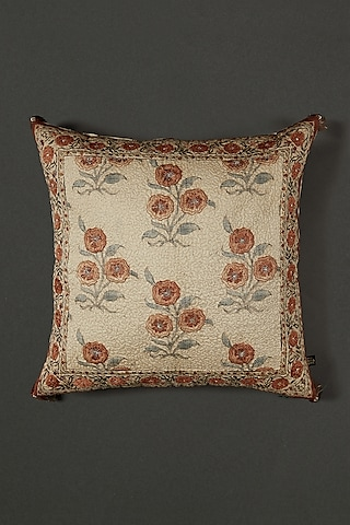 Beige Floral Printed Cushion With Filler by Ritu Kumar Home
