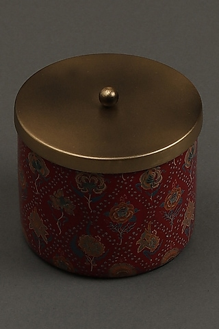 Red Lava Votive With Brass Tin by Ritu Kumar Home