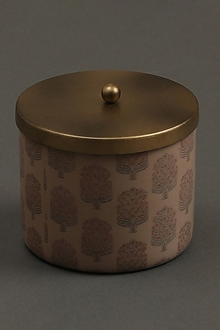Beige Uttan Votive With Brass Tin by Ritu Kumar Home