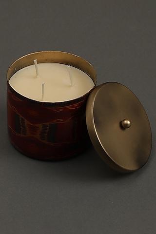 Red Ikkat Votive With Brass Tin by Ritu Kumar Home