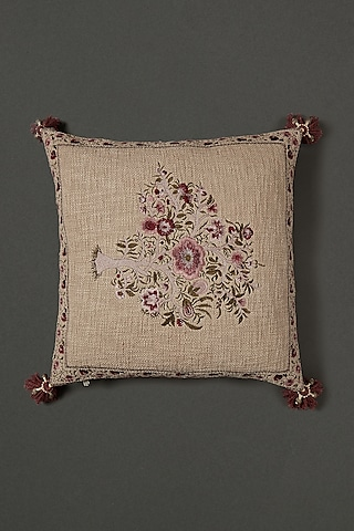 Beige & Pink Cushion With Filler by Ritu Kumar Home