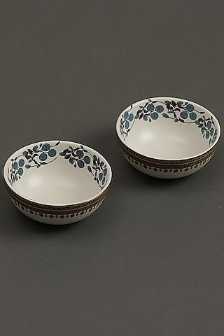 Yellow Jal Mahal Bowls (Set of 2) by Ritu Kumar Home
