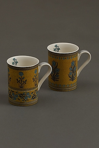 Yellow Jal Mahal Mugs (Set of 2) by Ritu Kumar Home
