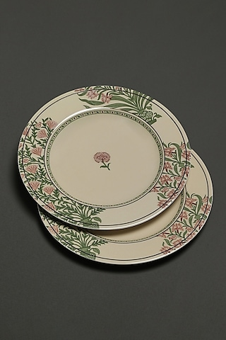 Beige Uttama Dinner Plates (Set of 2) by Ritu Kumar Home