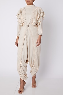 Off White Lace Dhoti Pants by DOOR OF MAAI