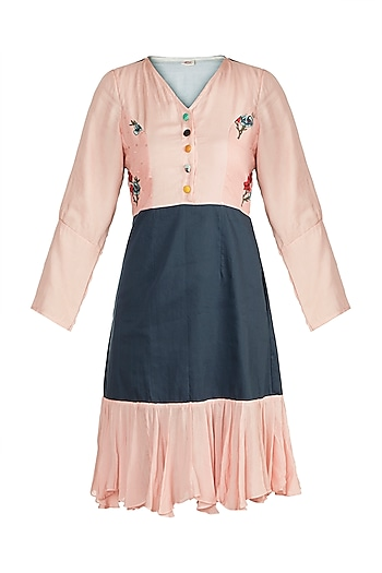 Blush Pink Printed & Embroidered Dress by DOOR OF MAAI