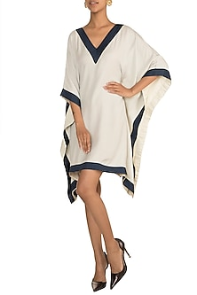Xenon Blue V-Neck Kaftan by DOOR OF MAAI
